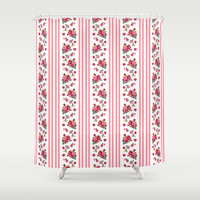 Vintage Floral Stripes - Coral Rose Shower Curtain by Lisa Argyropoulos | Society6