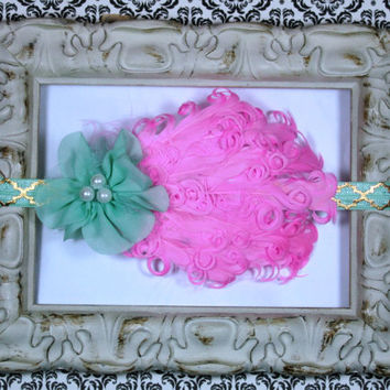 VIntage Inspired Headband, Vintage Style Feather Headband, Pink and Mint Headband, Baby Headband, Photo Prop , Flower Girl Headband