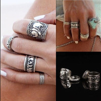4 pieces Women Ring Silver Plated Knuckle Metal