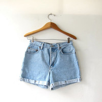 20% OFF SALE vintage denim shorts / washed out jean shorts / high waist denim shorts / cuffed shorts / button fly shorts