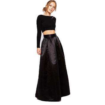 England Style 2017 Custom Made Long Black Skirt With Pockets Rigid Satin Floor Length Skirt For Women Maxi Skirt Zipper