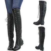 LACE UP OXFORD MILITARY COMBAT RIDING LOW FLAT HEEL OVER KNEE THIGH WOMENS BOOTS