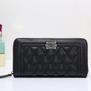 Perfect Chanel Women Leather Zipper Shopping Wallet Purse