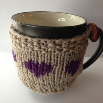 Mug Cozy Purple Hearts / Coffee Cup Sleeve / Oatmeal Cup Sleeve / Knitted Coffee Sweater / Hostess Gift