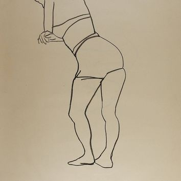 1950's Line Drawing Womans Figure Study