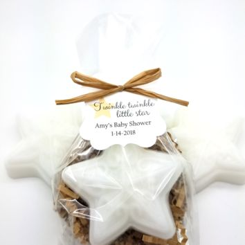 Rustic White Star Soap Baby Shower Favors with Twinkle Twinkle Little Star Custom Tags, Set of 12