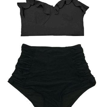 Black Midkini Top and Ruched Ruche Ruch High Waisted Waist Rise Highwaist Shorts Bottom Swimsuit Swimwear Bikini 2PC Bathing suit suits S M