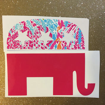 Glitter or Lilly Inspired Republican Elephant Monogram Vinyl Decal