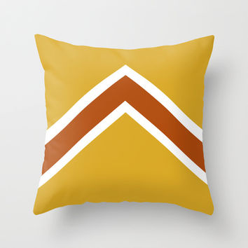 Vintage Mustard, Burnt Orange and White Arrow Throw Pillow by Kat Mun | Society6