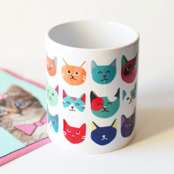 Cat head mug, unique coffee mug, uk mugs, cute mug for a cat lover.