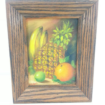 Vintage Fruit Still Life Painting, Mid Century Art, Kitchen Home Office Decor, Wall hanging, Pineapple, Banana, Orange, Lime, Gift Idea