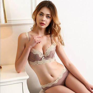 2016 new style sweet princess bra set push up women lace bra adjustable Japanese dot cute lingerie set
