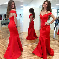 Off Shoulder Red Mermaid Prom Dresses ,Red Prom Dress,Long Evening Dress