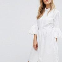 New Look Flute Sleeve Shirt Dress at asos.com