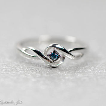 Sterling Silver .03 CTW Blue Genuine Diamond Promise Ring
