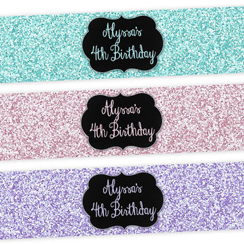 Personalized Pastel Water Bottle Labels - Easter Party Favors - Pink Purple Blue - Faux Glitter Water Bottle Labels - Sweet 16 Favors