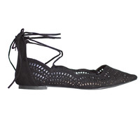 Alana Lasercut Lace-Up Flats-FINAL SALE