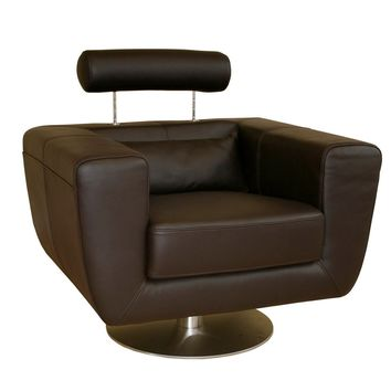 Baxton Studio Swivel-Action Dark Brown Club Chair Set of