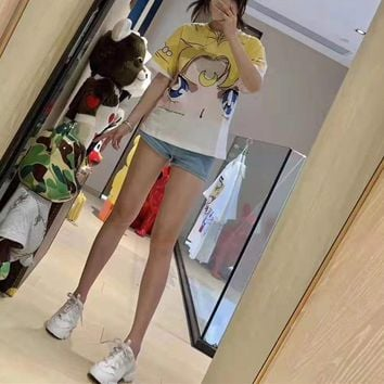 Woman Casual Fashion Letter Sailor Moon Cartoon Characters Printing Loose Large Size Short Sleeve T-Shirt Tops