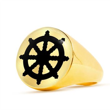 Dharma Wheel - 18k Gold Finished Luxury Signet Ring