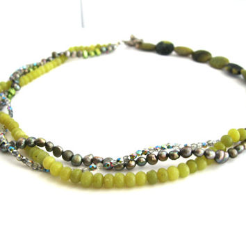 Necklace of Freshwater Pearls Yellow Turquoise Olive Green Jade Czech Fire Polished Glass Thai Silver  Puffy Fish and Toggle Clasp