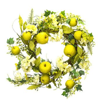 """Green and Yellow Artificial Mixed Floral Apple Wreath - 24"""" Wide"""