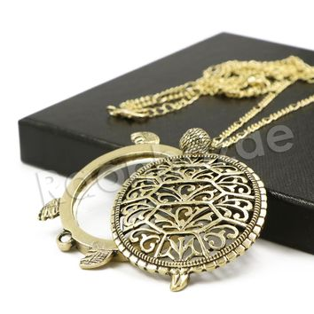 Antique Chain Vintage Turtoise Magnifying Glass Locket Pendant Necklace