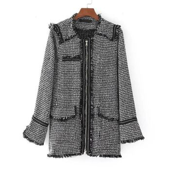 Autumn Vintage Women Tweed Jacket Long Sleeve O Neck Zipper Elegant Lady Frayed Trims Outerwear