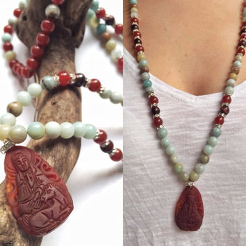 Amazonite natural stone beaded long necklace with carved agate buddha pendant, yoga jewelry, bohemian necklace