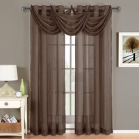 Abri Chocolate Grommet Crushed Sheer Curtain Panel