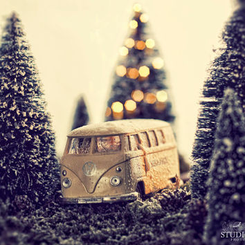 Toy Car Photo, VW Bug, Nursery Wall Decor, Romantic, Miniature Photography, Boys, Girls Room, Volkswagen Van, Whimsical Art, Kombi, Trees