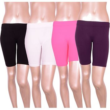 Solid Seamless Biker Yoga Exercise Athletic Mini Short Spandex Leggings