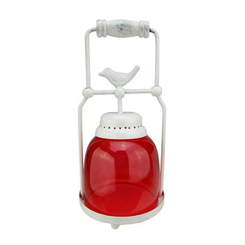 """11.75"""" Decorative Red and White Antique Inspired Avian Bird Glass Votive Candle Holder Lantern"""