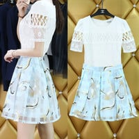 White Cut-Out Floral Lace Chiffon T-Shirt and Light Blue Animal Print Plaid Pleated Skirt
