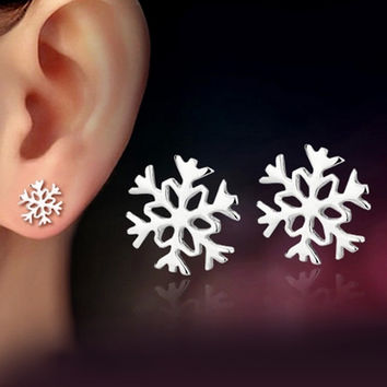 High Polished Platinum Plated Women Beautiful Snowflake Earring Fashion Jewelry Free Shipping