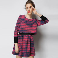 Houndstooth Pattern Long Sleeve Mini Dress