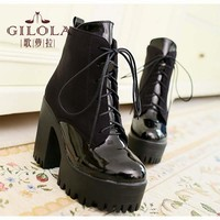 Women's High Heel Platform Lace Up Square Heel Ankle Boots