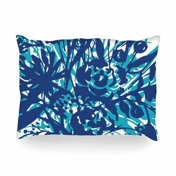 "Patternmuse ""Inky Floral Navy"" Blue Teal Painting Oblong Pillow"