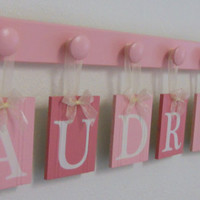Baby Nursery - Baby Wall Letters Boutique Sign Name - AUDRINA - 7 Wooden Pegs Baby Pink