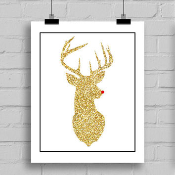 Gold Glitter Rudolph Reindeer Head Christmas Home Decor Wall Art, JPG/PDF, (8x10 Inches)