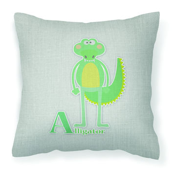 Alphabet A for Alligator Fabric Decorative Pillow BB5726PW1414