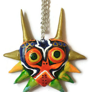 Zelda Majora's Mask Necklace, Legend of Zelda Link Ocarina Jewelry, Video Game Necklace, Polymer Clay Majora Mask, Triforce Accessories