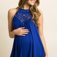 Blue Crochet Accent Halter Maternity Cami Top