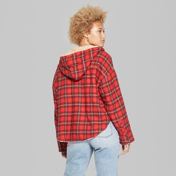 Women's Plaid Cropped Faux Fur Flannel Jacket - Wild Fable™ Red XS