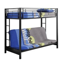 Walker Edison Twin-Over-Futon Metal Bunk Bed, Black