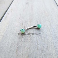 "Green opal rook piercing jewelry earring 16g titanium daith curved barbell 5/16"" 3mm opals"
