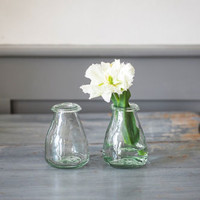 Pair Of Recycled Glass Bud Vases