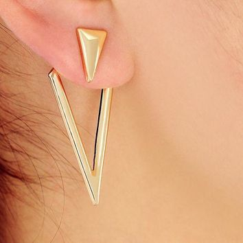 ac spbest New Gold Color Double Triangle Ear Jacket Cuff for Women Maxi Shape Geometric Statement Stud Earring Gothic Jewelry