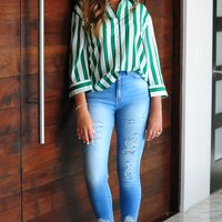 Got This Feeling Blouse: Green/White