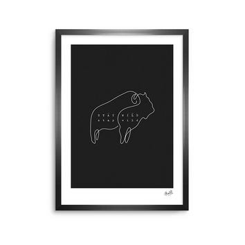 Stay Wild 3 - Black White Animals Digital Framed Art Print